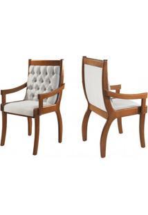 Cadeira Para Mesa De Jantar Pérola Com Braço Kit Com 2 Unidades Imbuia/Liso Bege Mobillare Decorações Móveis
