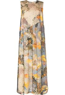 Collina Strada Vestido Ritual De Seda Com Estampa Floral - Cinza
