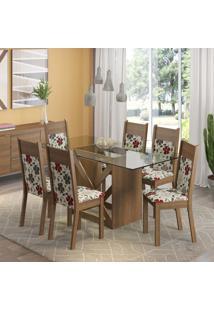 Conjunto De Mesa Com 6 Cadeiras Denver Rustic E Hibiscos