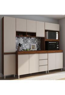 Cozinha Compacta Vegas 10 Portas 3 Gavetas Seda/Off White - Viero Móveis