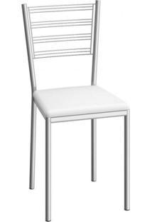 Cadeira De Aço Dallas C152 Compoarte Cromado/Branco