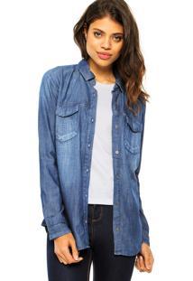 Camisa Calvin Klein Jeans Plano Azul