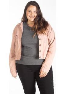 Jaqueta Sarja Color Cropped Feminina Plus Size - Feminino-Rose Gold