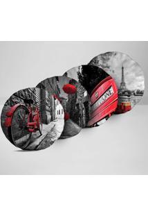 Kit 4 Almofadas Redondas Cidades Detalhes Vermelho