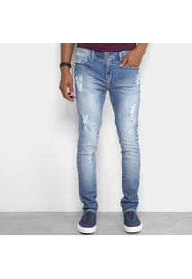 Calça Jeans Skinny Cavalera Estonada Masculina - Masculino-Azul
