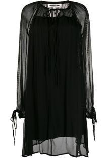 Mcq Alexander Mcqueen Vestido Mangas Longas Com Sobreposição Translúcida - Preto