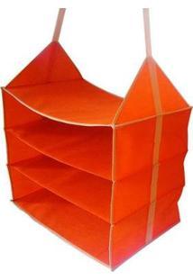 Organizador Para Guarda-Roupa Dobrável Roupas Sapatos 3 Divisórias Horizontal - Unissex-Vermelho