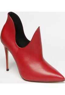 Ankle Boot Em Couro Com Recortes Vazados- Rosa Escuro