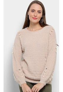 Suéter Tricot Facinelli Pelo Pérola Feminino - Feminino-Areia