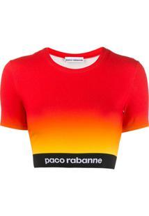 Paco Rabanne Blusa Cropped Com Logo - Vermelho