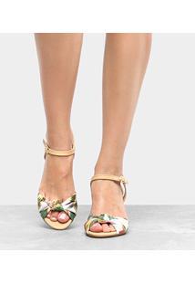 Sandália Shoestock Anabela Nó Feminina - Feminino-Branco