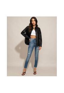 Calça Skinny Jeans Push Up Cintura Super Alta Destroyed Sawary Azul Médio