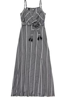 Vestido Cinza Longo Listrado Fenda Enfim