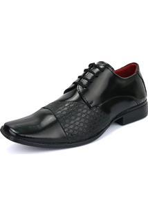 Sapato Social Rebento Com Cadarço Preto