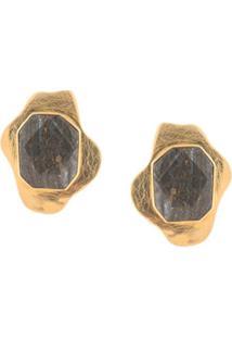 Liya Par De Brinco Com Aplicação De Cristal - Dourado