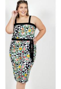 Vestido Midi Floral Preto Com Faixa Plus Size
