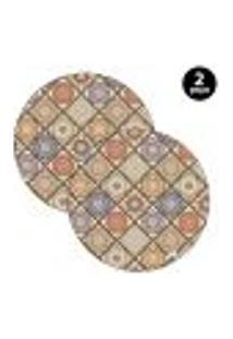 Capa Para Sousplat Mdecore Abstrato Colorido 2Pçs