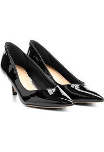 Scarpin Shoestock Salto Médio Básico - Feminino-Preto