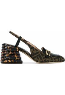 Fendi Sapato Com Tira Posterior E Aplicação Ff - Preto