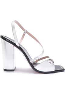 Sandália Salto Curves Prata | Schutz