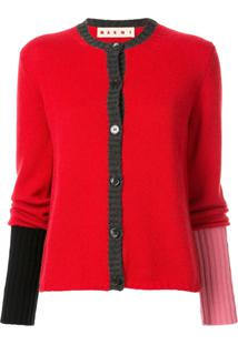 Marni Colour Block Ribbed Cardigan - Vermelho