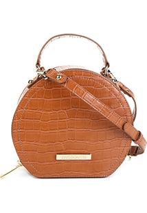 Bolsa Loucos & Santos Mini Bag Redonda Feminina - Feminino-Caramelo