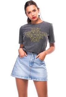 Camiseta Estonada Forth Useliverpool Feminina - Feminino-Preto