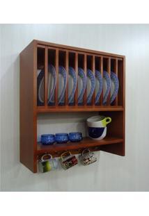 Armário Cozinha Porta Pratos Louças E Canecas - Padrão Mogno
