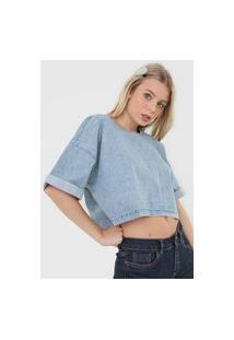 Blusa Cropped Jeans Gap Botões Azul