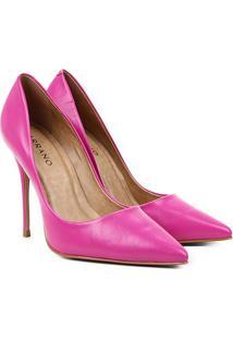 Scarpin Couro Carrano Bico Fino Salto Alto - Feminino-Pink