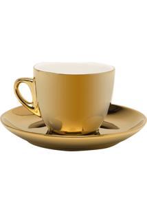 Conjunto De 6 Xícaras De Porcelana Wolff Para Chá Com Pires Branco E Dourado Versa 220Ml