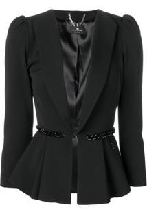 Elisabetta Franchi Blazer Com Cinto - Preto