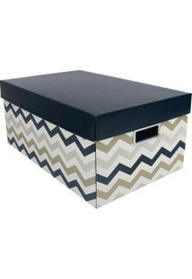 Caixa Organizadora G Geométrica- Azul Marinho & Branca