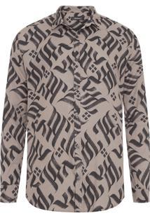 Camisa Masculina Full Fraktur - Marrom