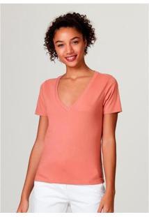 Blusa Básica Hering Em Algodão Com Decote V Feminina - Feminino-Rosa