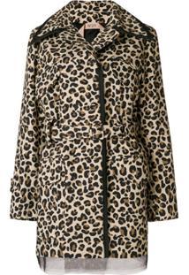 Nº21 Jaqueta Com Estampa De Leopardo E Amarração - Marrom