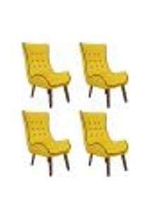 Kit 04 Poltronas Decorativas Jessica Com Capitonê Suede Amarelo