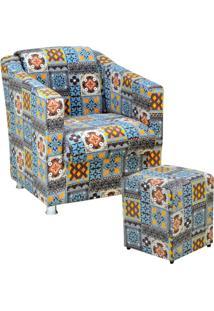 Poltrona Decorativa Lyam Decor Com Puff Laura Azul