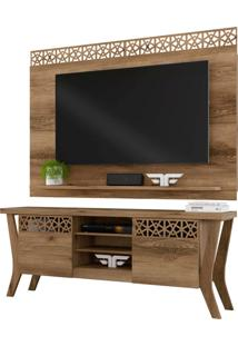 Rack Bancada Decor Com Painel Para Tv Life New Sala De Estar Canela - Frade Movelaria - Marrom - Dafiti