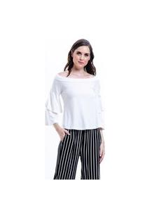 Blusa 101 Resort Wear Viscoly Ombro A Ombro Mangas Flare Babados Off