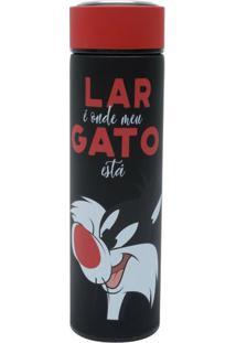 Garrafa Térmica Aço Inox Emborrachada Frajola Looney Tunes Preta 500 Ml