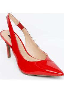Sapato Chanel Em Couro Com Recortes - Vermelho - Saljorge Bischoff