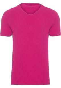 Camiseta Masculina Estampa Logo - Rosa
