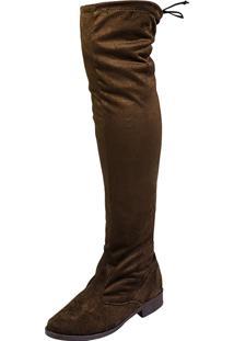 Bota Domidona Montaria Over The Knee Com Camurça Stretch Café