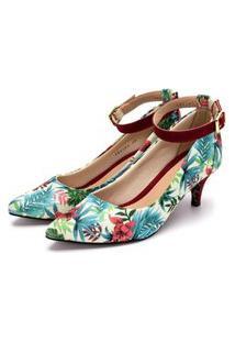 Sapato Feminino Scarpin Com Laço Salto Baixo Fino Em Tecido Floral