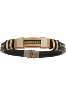 Bracelete De Aço Inox Rosê Tudo Joias Com 12Mm De Largura - Unissex-Prata
