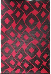 Tapete Sisllê Losangos Ii Retangular Polipropileno (133X190) Preto E Vermelho