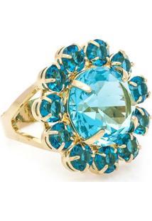 Anel Banho De Ouro Formato Flor Cristal - Feminino-Azul