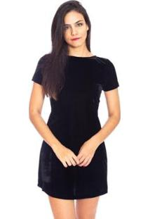 Vestido Moda Godê Vicio Careca Manga Curta Veludo - Feminino