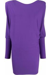 Alexandre Vauthier Padded-Shoulder Long-Sleeve Minidress - Roxo